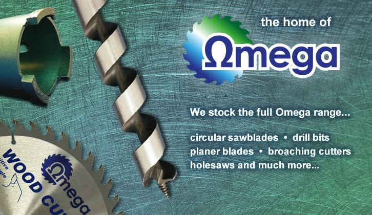 We stock the full Omega range including circular saw blades, drill bits, planer blades, broaching cutters, hole saws and more more.